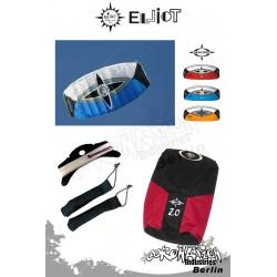 Elliot Sigma Spirit 2-Leiner Kite R2F - 2.0 Blau mit Bar