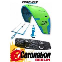 CrazyFly Sculp vert 12m² & Raptor LTD 2017 Kite + Board + barre complète Set