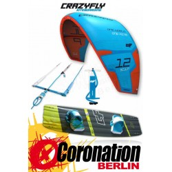 CrazyFly Sculp Blue 14m² & Bulldozer 2017 Kite + Board + Bar komplett Set