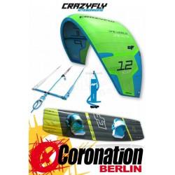 CrazyFly Sculp vert 10m² & Bulldozer 2017 Kite + Board + barre complète Set
