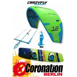 CrazyFly Sculp Green 12m² & Allround 2017 Kite + Board + Bar komplett Set