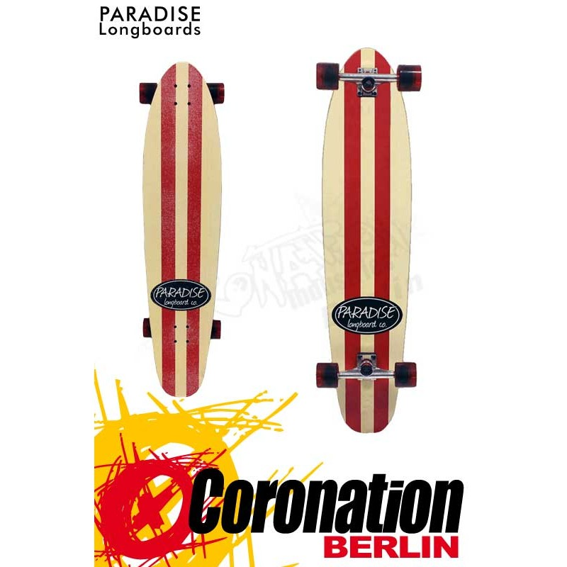 Paradise Longboard Kicktal red/white stripes