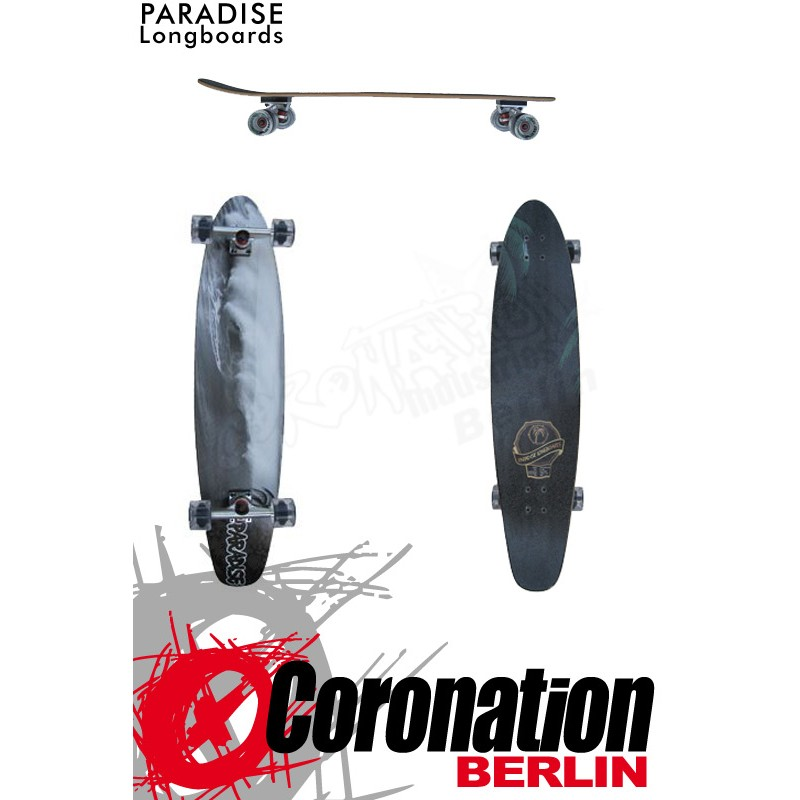 Paradise Longboard Black&White Wave Kicktail PREBUILT