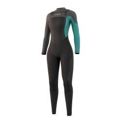Mystic DIVA fullsuit 3/2MM DOUBLE FZIP 2021 neopren suit black/mint