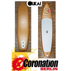 """OUKAI inflatable SUP 12'6 x 30"""" Touring Stand Up Paddle Board WOOD"""