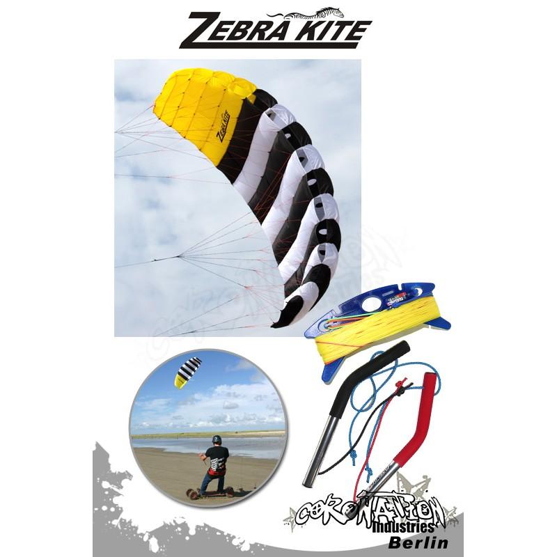 Zebra Kite 4 Leinen Kite CHECKA Komplett - 4m²