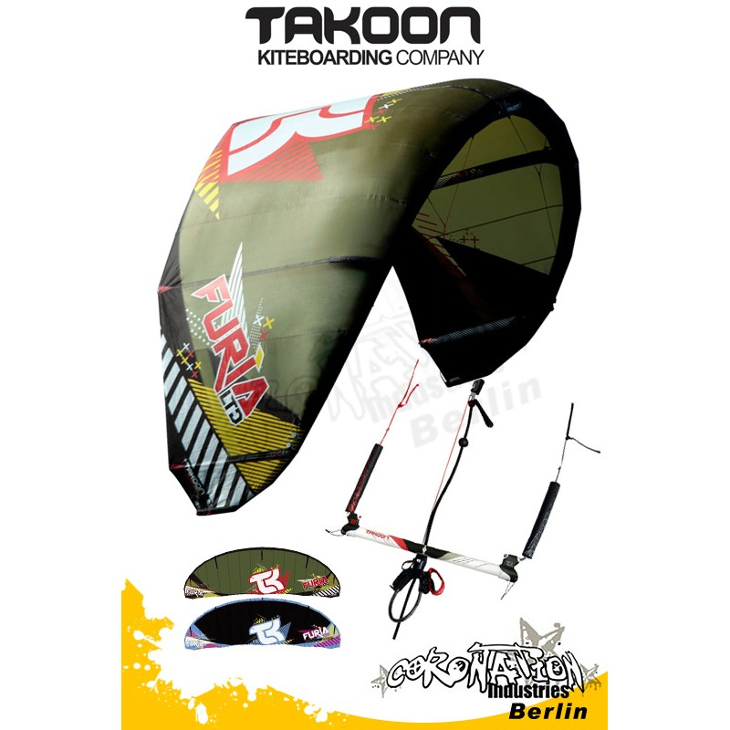 Takoon Furia Ltd 2010 Freestyle-Wave Kite 11qm complète avec barre