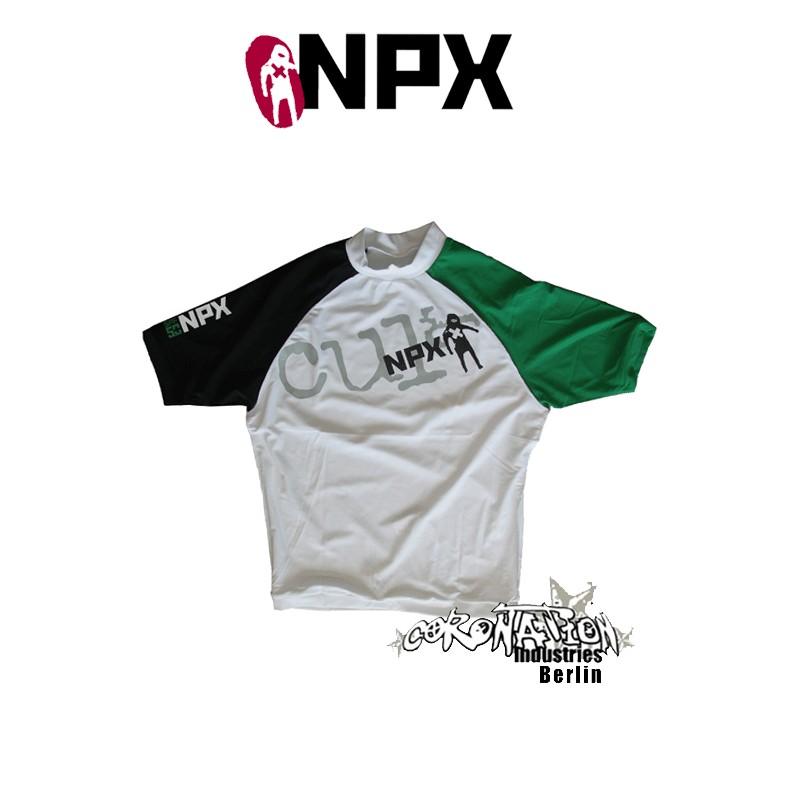 NPX Rash Vest Cult S/S pour Männer Black/White/vert