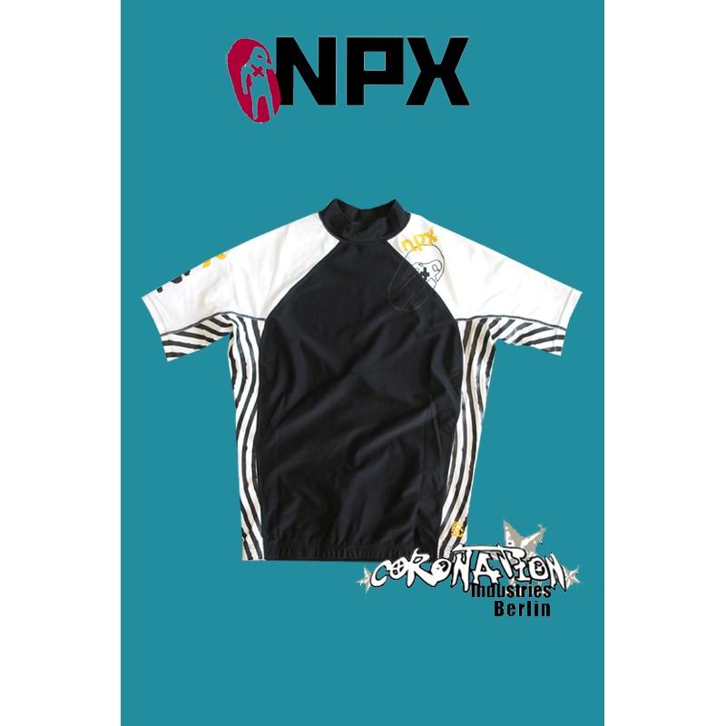 NPX Rash Vest Zebra S/S pour Männer blanc/noir