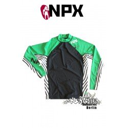 NPX Rash Vest Zebra L/S für Männer Grün/Schwarz