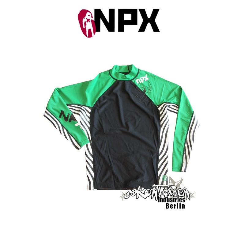 NPX Rash Vest Zebra L/S pour Männer vert/noir